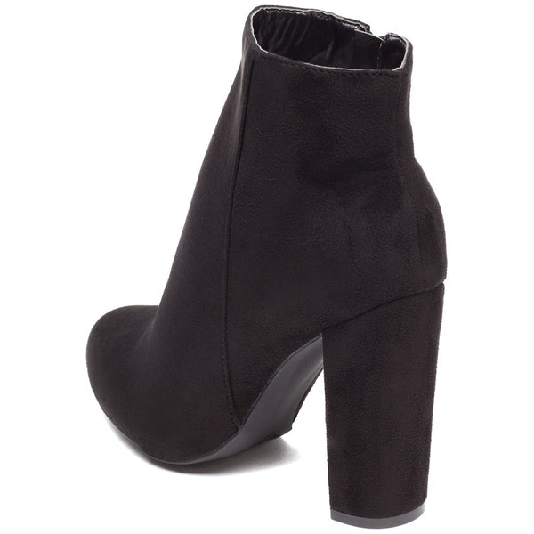 Block Party Black Faux Suede Bootie - Citi Trends Shoes - Back