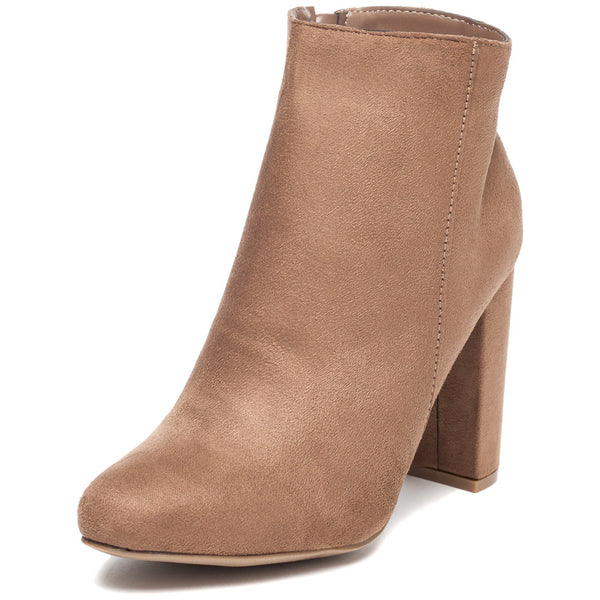 Block Party Taupe Faux Suede Bootie - Citi Trends Shoes - Front