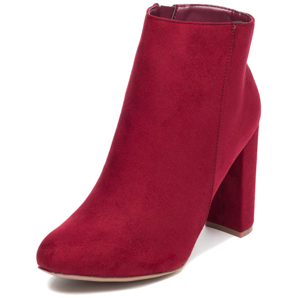 Block Party Burgundy Faux Suede Bootie - Citi Trends Shoes - Front
