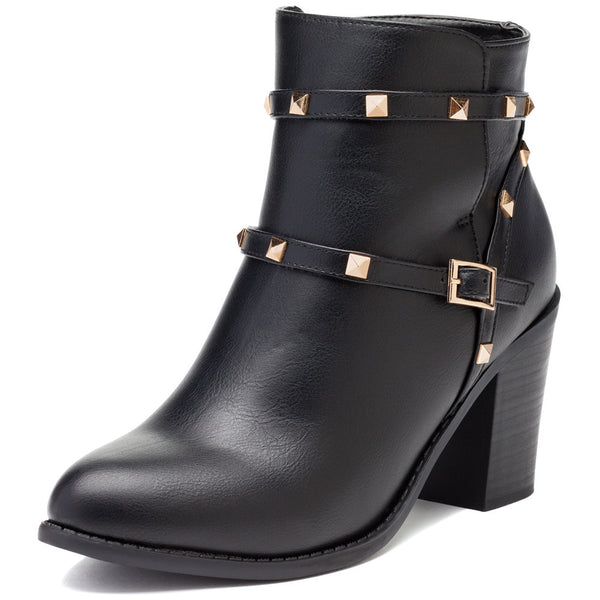 Glimmer In The Details Black Studded Bootie - Citi Trends Shoes - Front