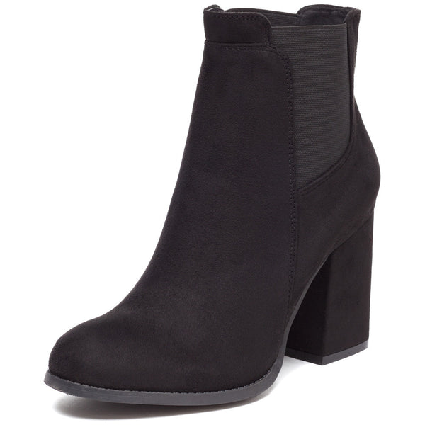 Stretch To It Black Faux Suede Bootie - Citi Trends Shoes - Front