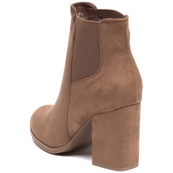 Stretch To It Taupe Faux Suede Bootie - Citi Trends Shoes - Back