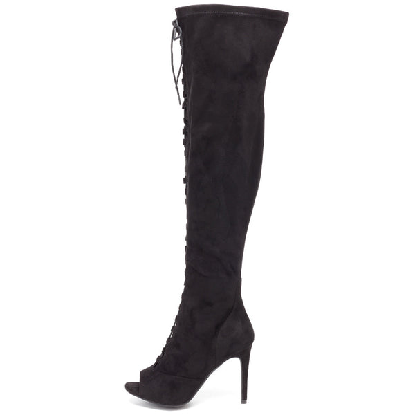 Tiebreaker Black Peep-Toe Over-The-Knee Boot - Citi Trends Shoes - Side