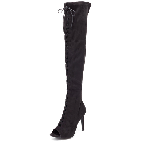 Tiebreaker Black Peep-Toe Thigh-High Boot - Citi Trends Shoes - Front