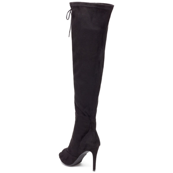 Tiebreaker Black Peep-Toe Over-The-Knee Boot - Citi Trends Shoes - Back