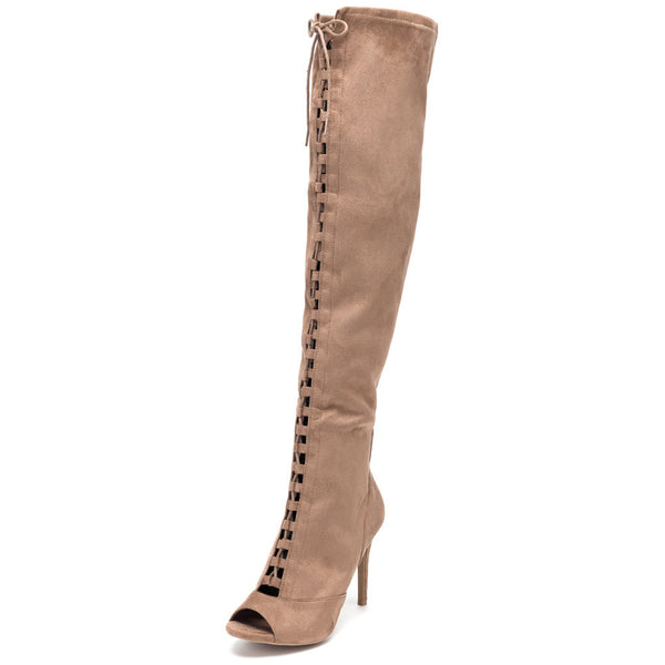 Tiebreaker Taupe Peep-Toe Thigh-High Boot - Citi Trends Shoes - Front