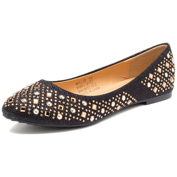 Glimmer The Distance Black Studded Ballet Flat - Citi Trends Shoes - Front