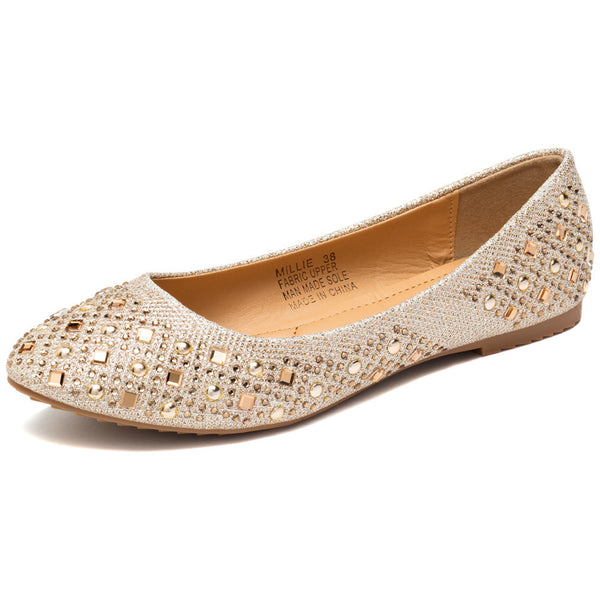 Glimmer The Distance Champagne Studded Ballet Flat - Citi Trends Shoes - Front