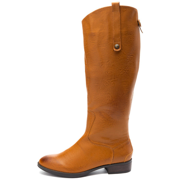 Crisp And Classic Tan Leather Knee-High Boot - Citi Trends Shoes - Side