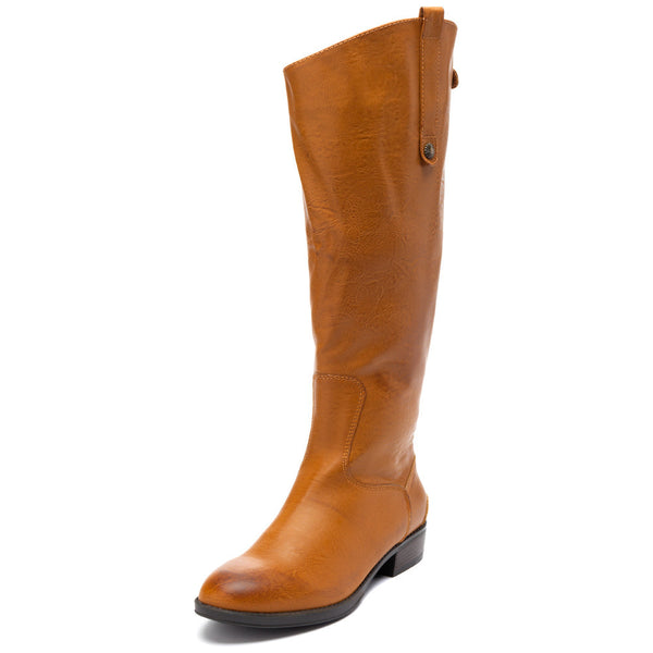 Crisp and Classic Tan Leather Knee-High Boot - Citi Trends Shoes - Front