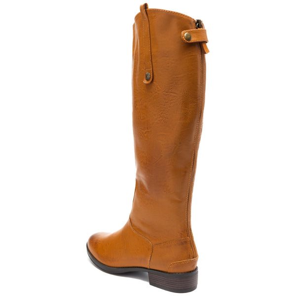 Crisp And Classic Tan Leather Knee-High Boot - Citi Trends Shoes - Back