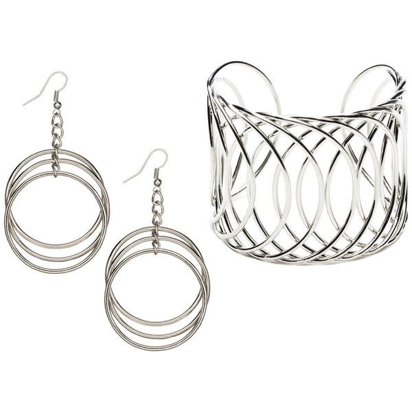 Circling Back Silver Cuff And Hoop Earring Set - Citi Trends Accessories - Front