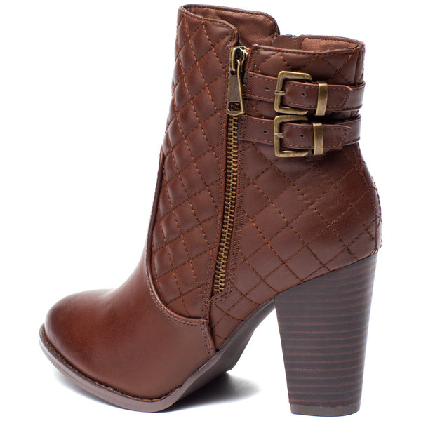 Go The Extra Mile Brown Quilted Bootie - Citi Trends Shoes - Back