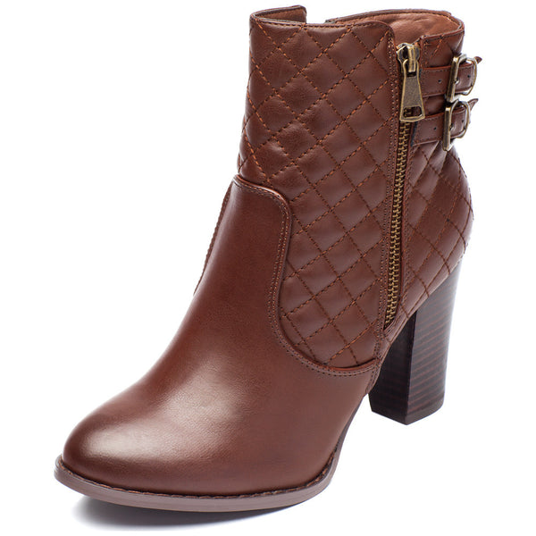 Go The Extra Mile Brown Quilted Bootie - Citi Trends Shoes - Front