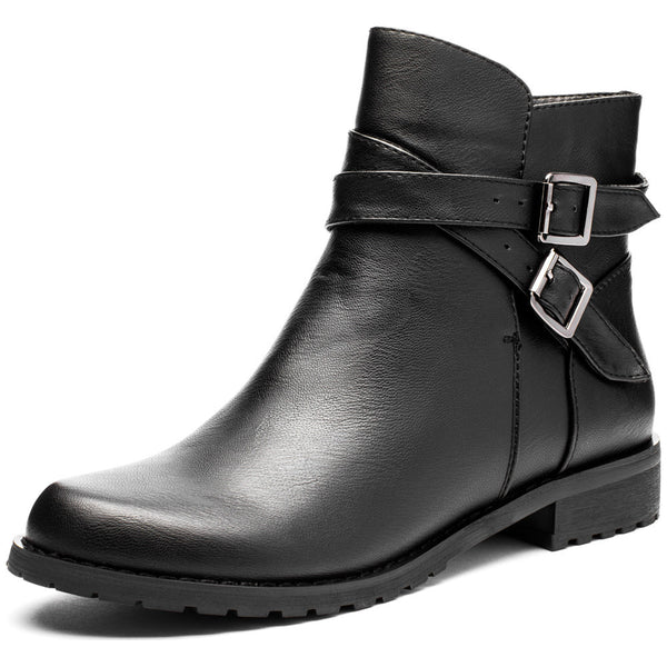 Classic Edge Black Buckle Boot - Citi Trends Shoes - Front