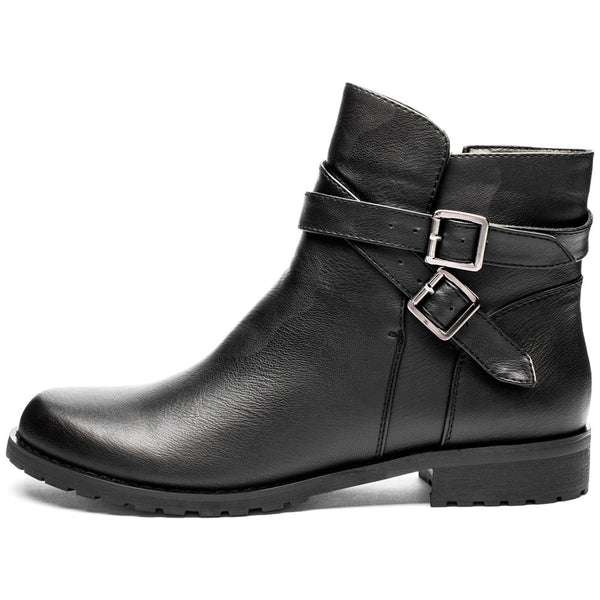 Classic Edge Black Buckle Boot - Citi Trends Shoes - Side
