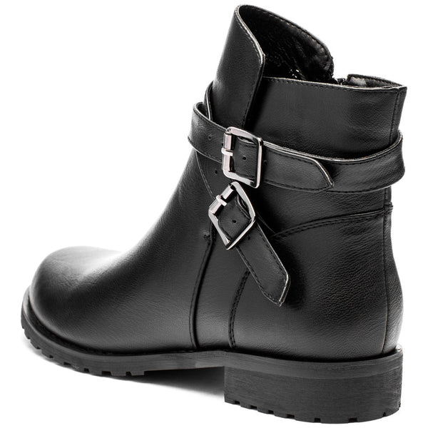 Classic Edge Black Buckle Boot - Citi Trends Shoes - Back