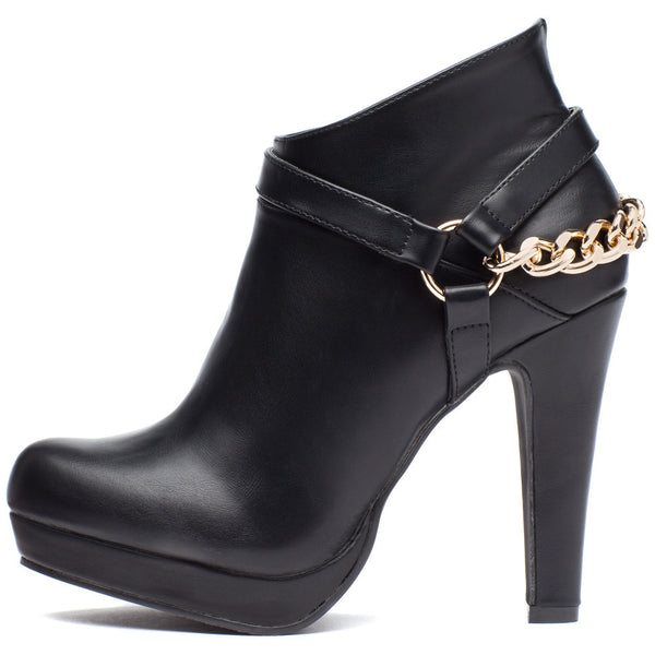 The Trend Connection Chain Black Bootie - Citi Trends Shoes - Side