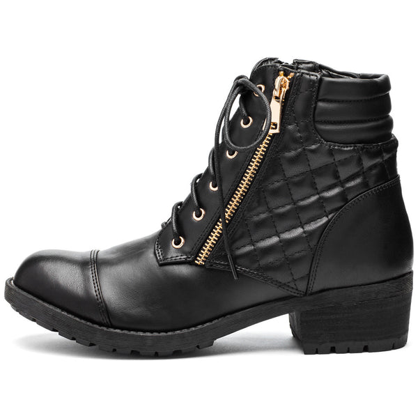 On The Move Black Cap-Toe Combat Boot - Citi Trends Shoes - Side