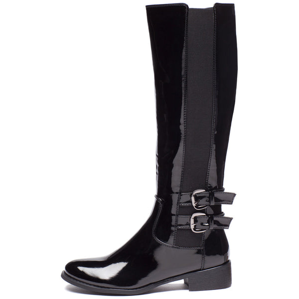 Walk It Out Black Faux Patent Leather Boot - Citi Trends Shoes - Side