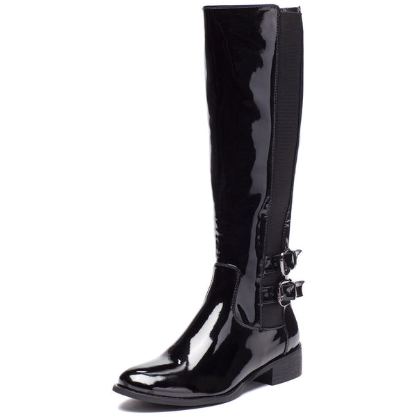 Walk It Out Black Faux Patent Leather Boot - Citi Trends Shoes - Front