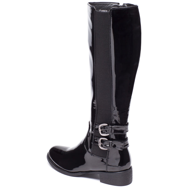 Walk It Out Black Faux Patent Leather Boot - Citi Trends Shoes - Back