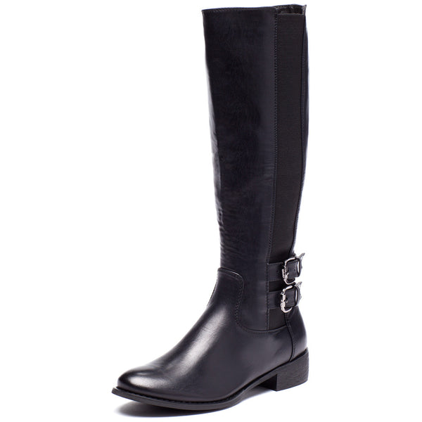 Walk It Out Black Faux Leather Boot - Citi Trends Shoes - Front