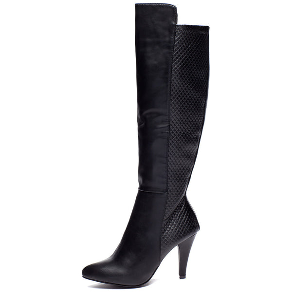 Quilted Quest Black Over-The Knee Boot - Citi Trends Shoes - Side