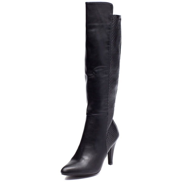 Quilted Quest Black Over-The Knee Boot - Citi Trends Shoes - Front
