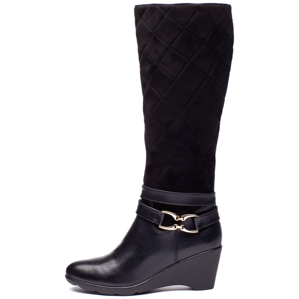 A Walk In The Park Black Wedge Boot - Citi Trends Shoes - Side