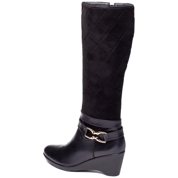 A Walk In The Park Black Wedge Boot - Citi Trends Shoes - Back