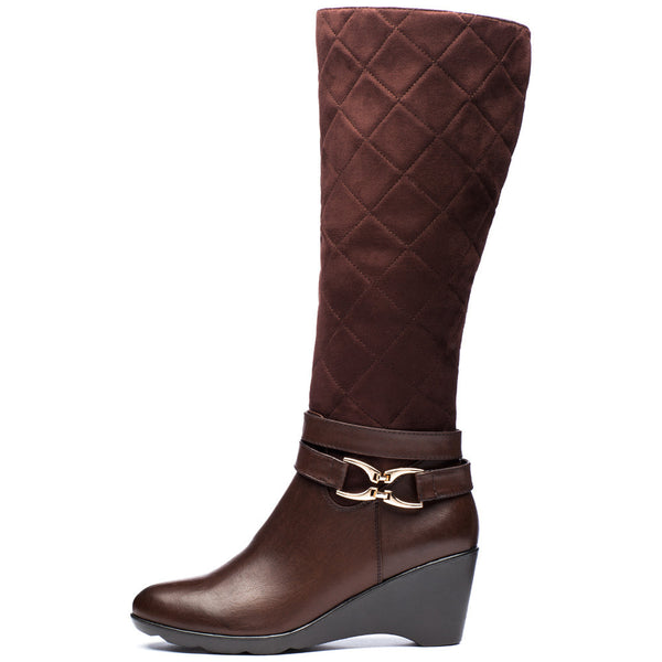 A Walk In The Park Brown Wedge Boot - Citi Trends Shoes - Side