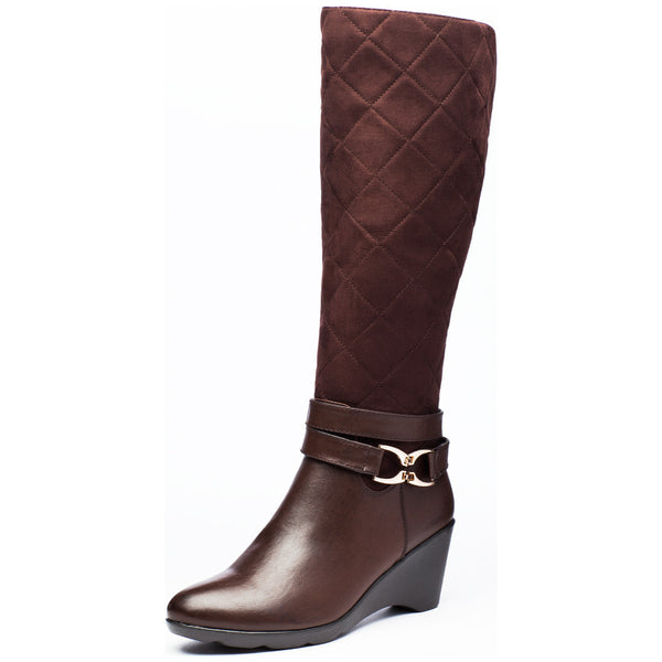 A Walk In The Park Brown Wedge Boot - Citi Trends Shoes - Front