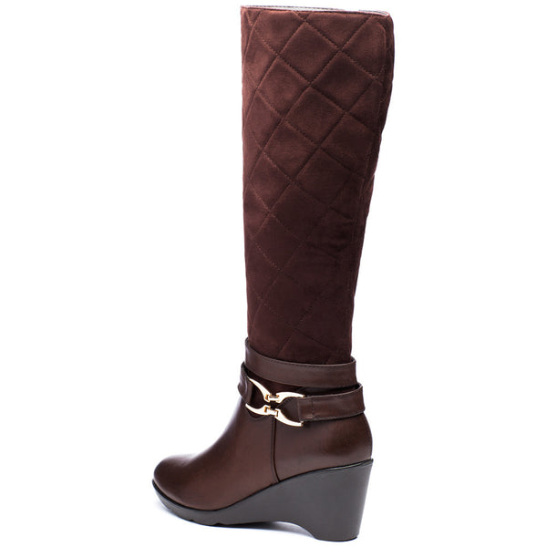 A Walk In The Park Brown Wedge Boot - Citi Trends Shoes - Back