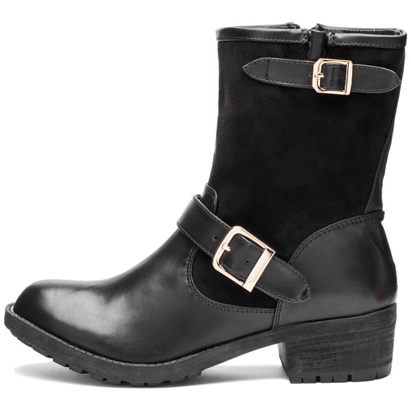 Buckle Up Black Moto Boot - Citi Trends Shoes - Side