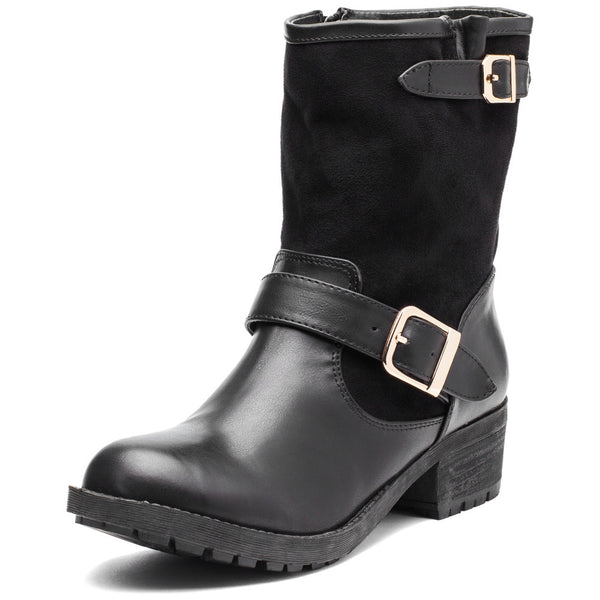 Buckle Up Black Moto Boot - Citi Trends Shoes - Front