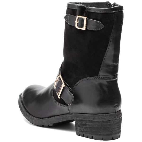 Buckle Up Black Moto Boot - Citi Trends Shoes - Back