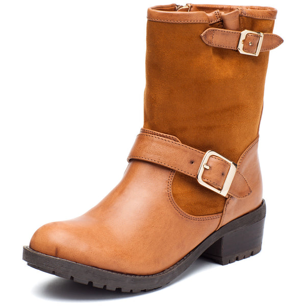 Buckle Up Cognac Moto Boot - Citi Trends Shoes - Front