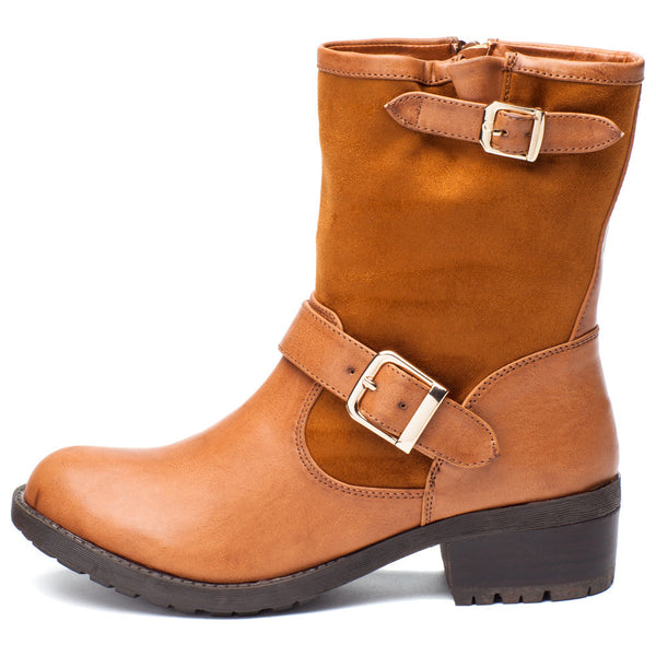 Buckle Up Cognac Moto Boot - Citi Trends Shoes - Side