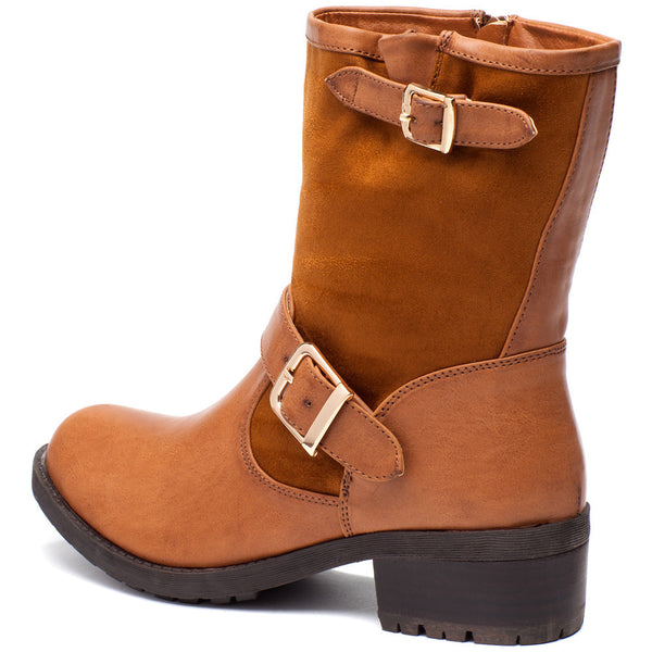 Buckle Up Cognac Moto Boot - Citi Trends Shoes - Back