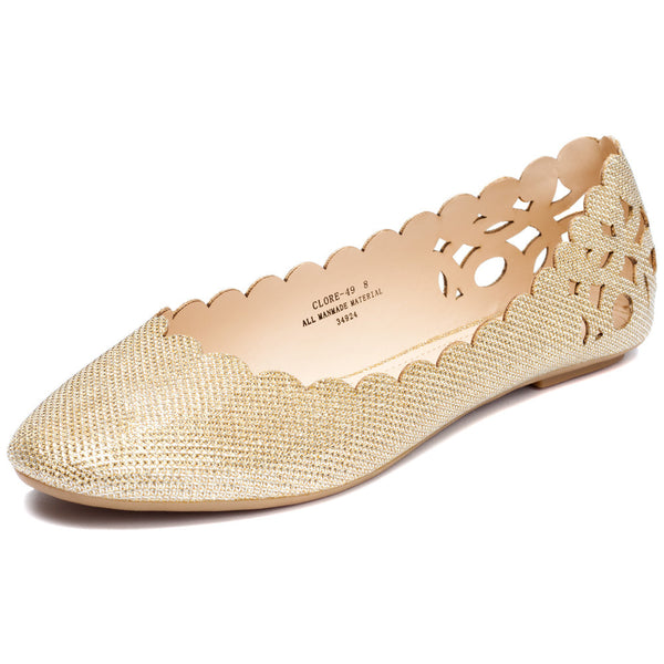 Gold Glitter Perforated Ballet Flat With Scalloped Trim - Citi Trends Shoes - Front