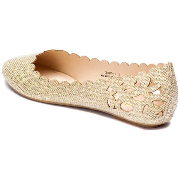 Gold Glitter Perforated Ballet Flat With Scalloped Trim - Citi Trends Shoes - Back
