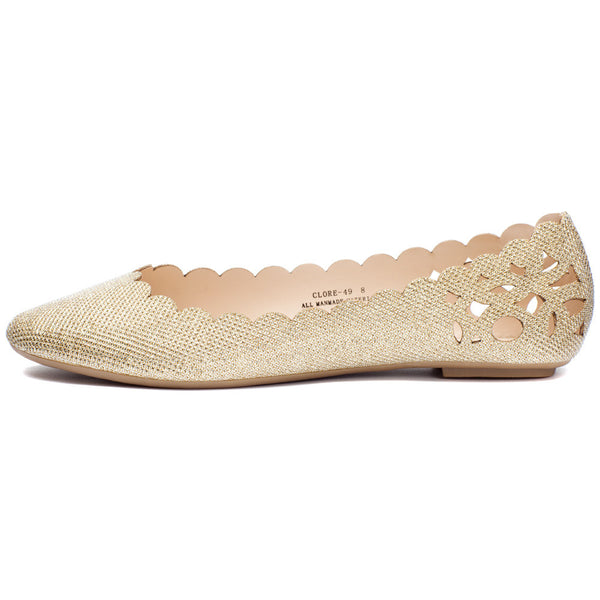 Gold Glitter Perforated Ballet Flat With Scalloped Trim - Citi Trends Shoes - Side