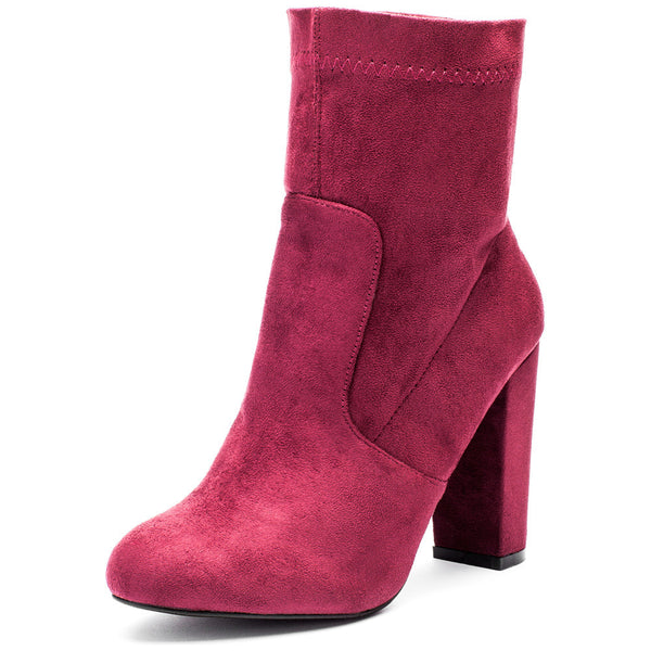 Pair With Ease Wine Faux Suede Bootie - Citi Trends Shoes - Front