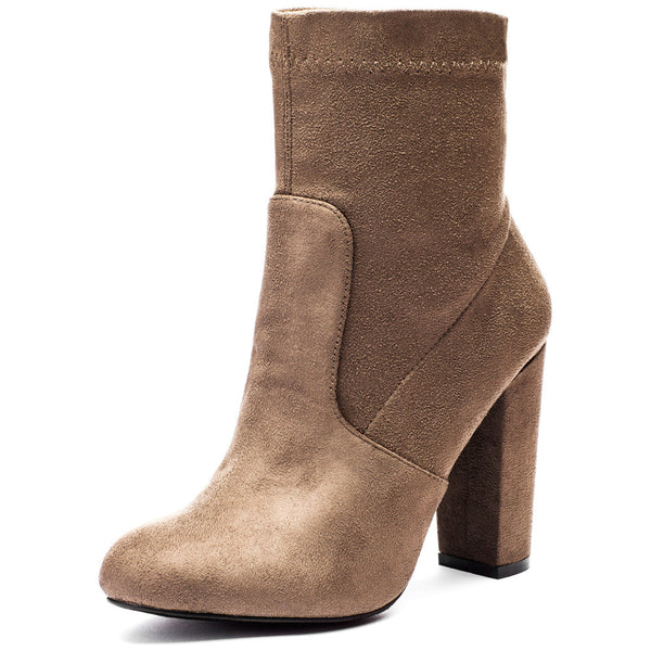 Pair With Ease Taupe Faux Suede Bootie - Citi Trends Shoes - Front