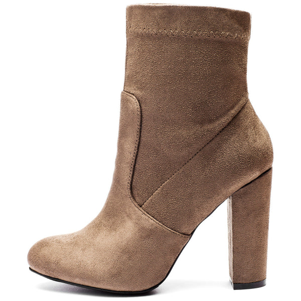 Pair With Ease Taupe Faux Suede Bootie - Citi Trends Shoes - Side
