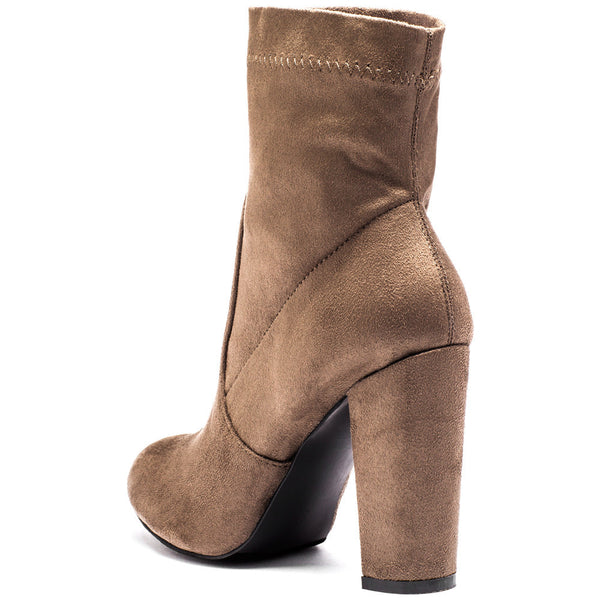 Pair With Ease Taupe Faux Suede Bootie - Citi Trends Shoes - Back