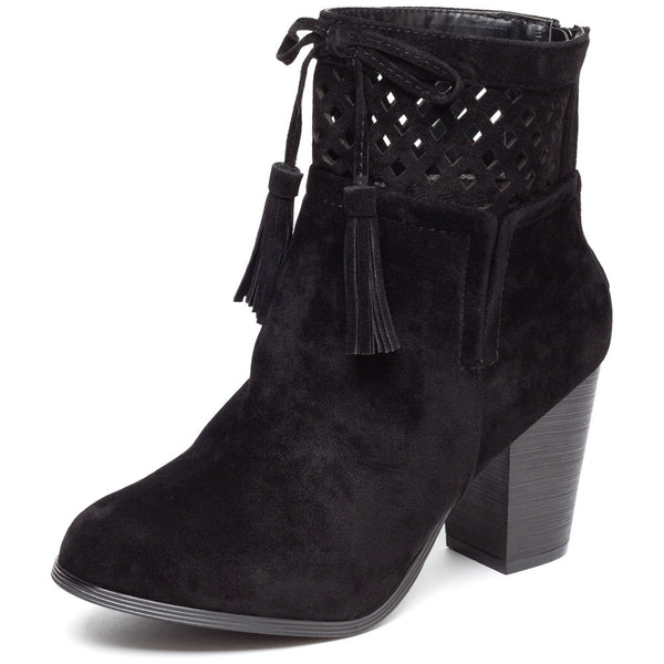 A Cut Above Black Faux Suede Bootie - Citi Trends Shoes - Front