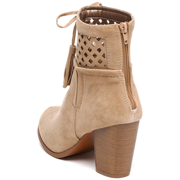A Cut Above Beige Faux Suede Bootie - Citi Trends Shoes - Back