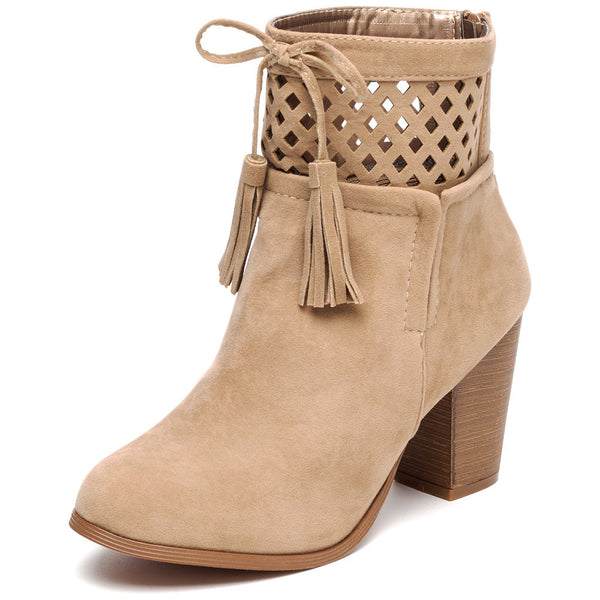 A Cut Above Beige Faux Suede Bootie - Citi Trends Shoes - Front